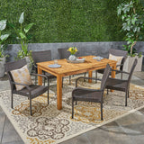 Outdoor 7 Piece Wood and Wicker Expandable Dining Set - NH544503