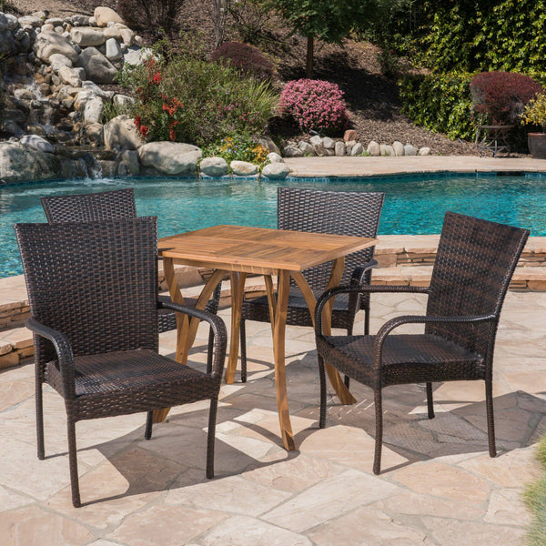 Outdoor 5 Piece Acacia Wood/ Wicker Dining Set, Teak Finish and Multibrown - NH403403