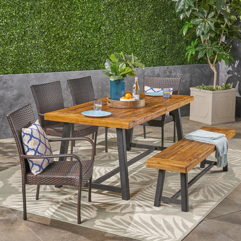 Outdoor 6 Piece Dining Set with Wicker Chairs and Bench, Sandblast Teak and Multi Brown and Beige - NH342603