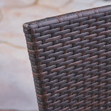 Outdoor 3 Piece Wood  and Wicker Bistro Set - NH672503