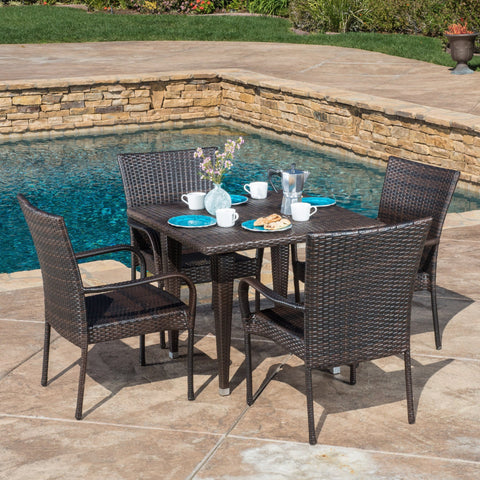 Contemporary Outdoor 5pc Brown Wicker Dining Set - NH586692