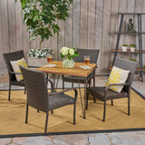 Outdoor Farmhouse Wood and Wicker 5 Piece Square Dining Set - NH364503