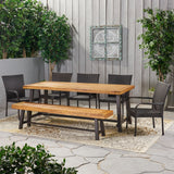 Outdoor Rustic Acacia Wood 8 Seater Dining Set with Dining Bench - NH669013