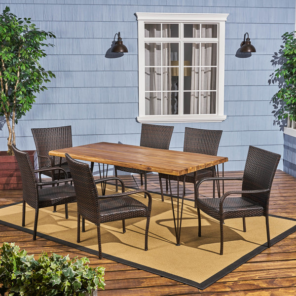 Outdoor Rustic Wood & Wicker Dining Set - NH735703
