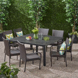 Outdoor Aluminum and Wicker 8 Seater Dining Set with Stacking Chairs - NH593903