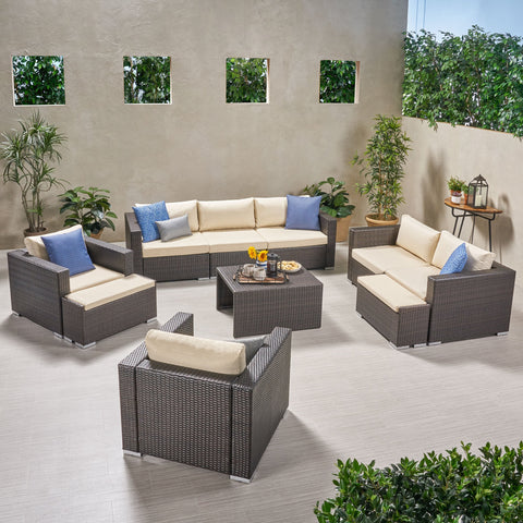 Outdoor 7 Seater Wicker Extended Sofa Chat Set with Ottomans - NH979903