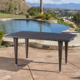 Contemporary Outdoor Multi Brown Polyethylene Rectangle Table - NH915692
