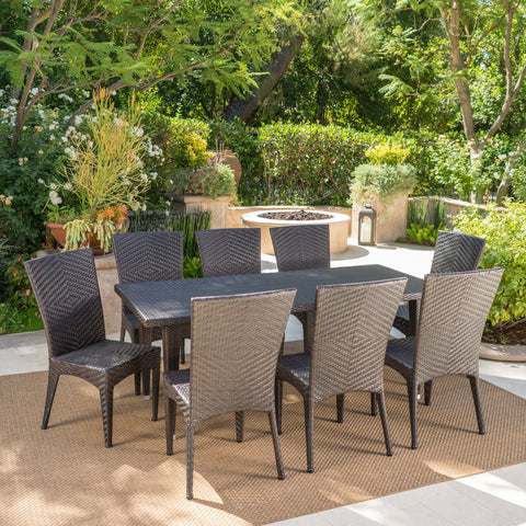 Outdoor 9 Piece Multi-Brown Wicker Dining Set - NH335103