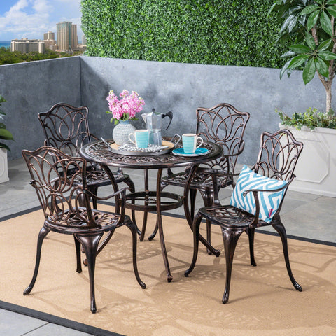 Outdoor 4-Seater Cast Aluminum Round-Table Dining Set - NH833603