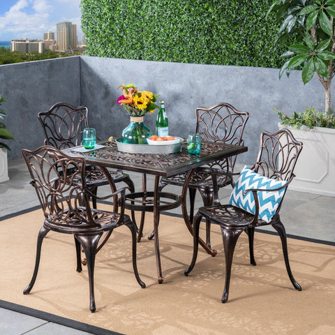Outdoor 4-Seater Cast Aluminum Square-Table Dining Set, Shiny Copper - NH933603