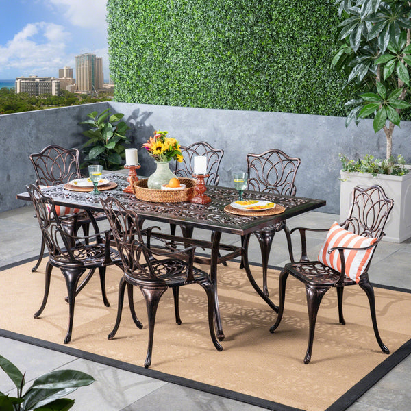 Outdoor 6-Seater Cast Aluminum Rectangular-Table Dining Set - NH733603