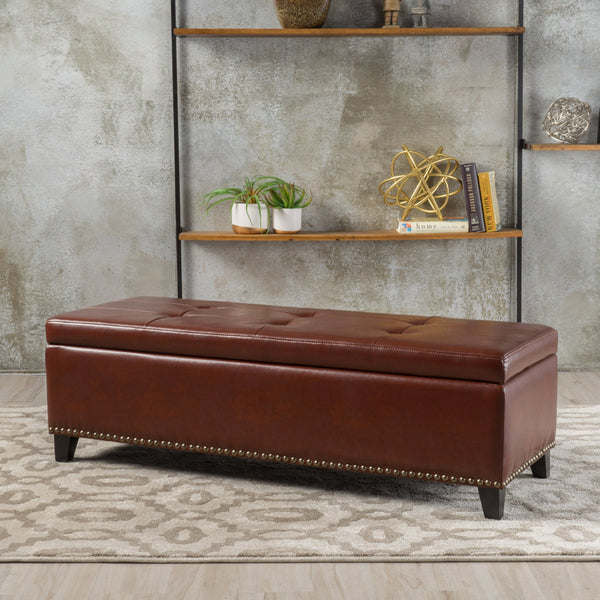 Rectangle Tufted Leather Storage Ottoman Bench - NH255232