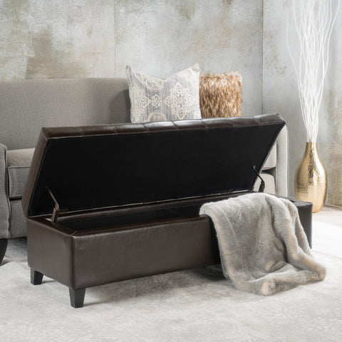 Brown Tufted Leather Storage Ottoman Bench - NH617332