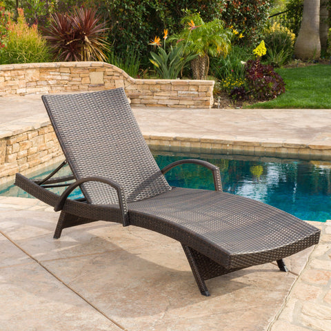 Outdoor Brown Wicker Armed Chaise Lounge Chair - NH947692