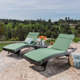 3pc Outdoor Brown Wicker Chaise Lounge Chair & Table Set - NH980003