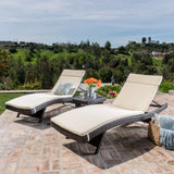 3pc Outdoor Wicker Chaise Lounge Chair & Table Set - NH190003