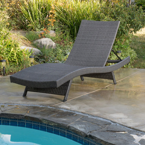 Outdoor Grey Wicker Chaise Lounge Chairs - NH296692