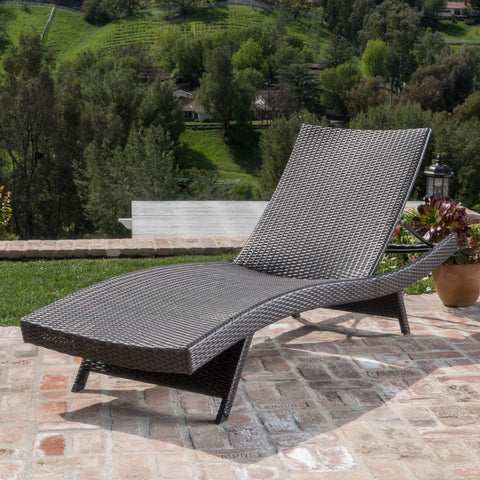 Outdoor Wicker Adjustable Back Chaise Sun Lounger - NH129492