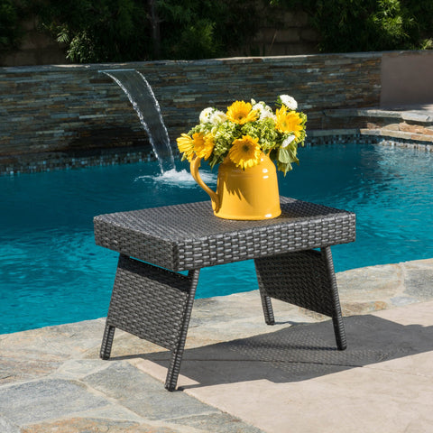 Anthony Outdoor Wicker Folding Side Table