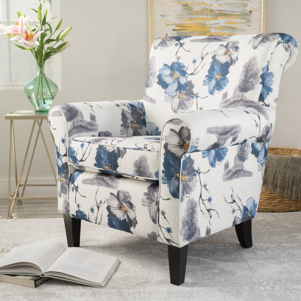 Blue & White Floral Print Fabric Club Chair - NH734003