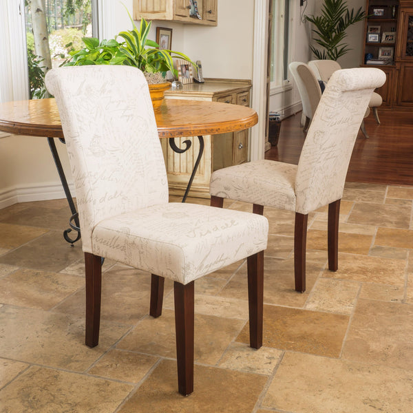 Script Printed Beige Linen Dining Chairs (Set of 2) - NH109432