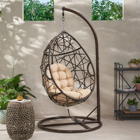 Outdoor Brown Wicker Hanging Teardrop / Egg Chair - NH791932