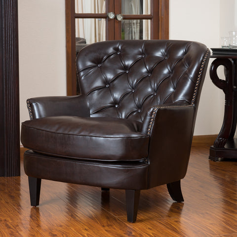Button Tufted Leather Club Chair - NH743112