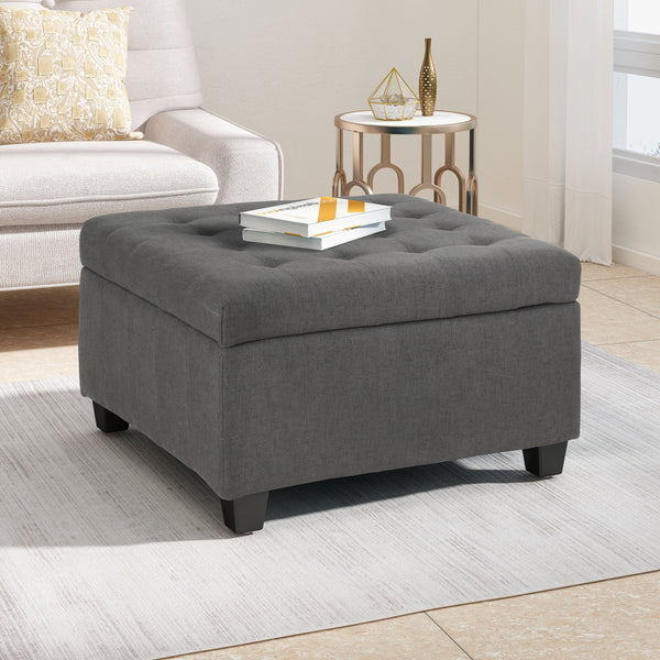 Tufted Fabric Storage Ottoman - NH185113
