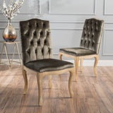 Traditional Button Tufted Velvet Dining Chairs, Set of 2 - NH888003