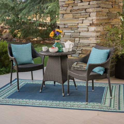 Outdoor 3 Piece Wicker Bistro Set, Grey - NH917403
