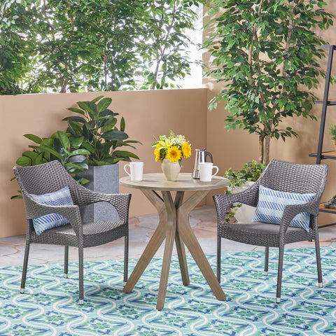 Outdoor 3 Piece Acacia Wood and Wicker Bistro Set - NH630503