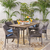 Outdoor 7 Piece Wood and Wicker Dining Set, Gray and Gray - NH821503