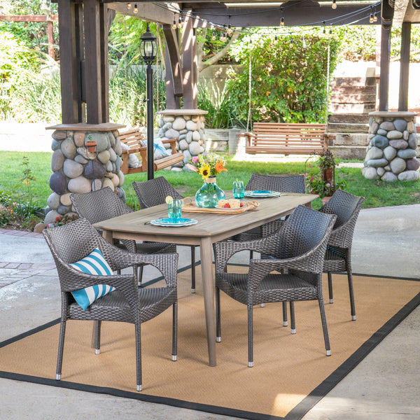 Outdoor 7 Piece Wood and Wicker Dining Set, Gray and Gray - NH471503