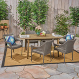 Outdoor 7 Piece Acacia Wood Dining Set with Stacking Wicker Chairs - NH732603