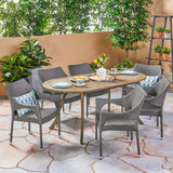 Outdoor 7 Piece Wood and Wicker Dining Set, Gray Finish and Gray - NH962503