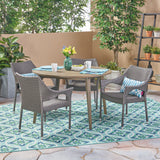 Outdoor 5 Piece Wicker Dining Set with Round Acacia Wood Slat Top Table - NH952503
