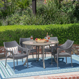 Outdoor 5 Piece Acacia Wood and Wicker Dining Set - NH810503