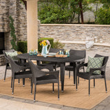 Outdoor 7 Piece Gray Wicker Oval Dining Set with Stacking Chairs - NH156203