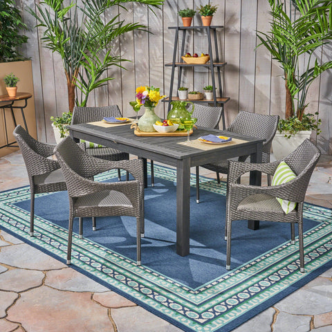 Outdoor Wood and Wicker Expandable Dining Set - NH754503