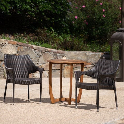 Outdoor 3 Piece  Acacia Wood/ Wicker Bistro Set, Teak Finish and Multibrown - NH992403