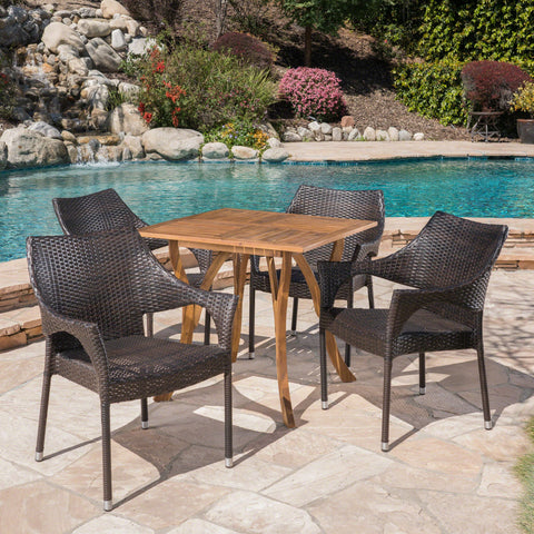 Outdoor 5 Piece Acacia Wood and Wicker Square Dining Set - NH503403