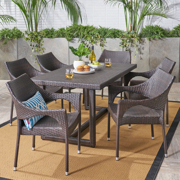 Outdoor 7 Piece Wicker Dining Set, Multibrown - NH827403