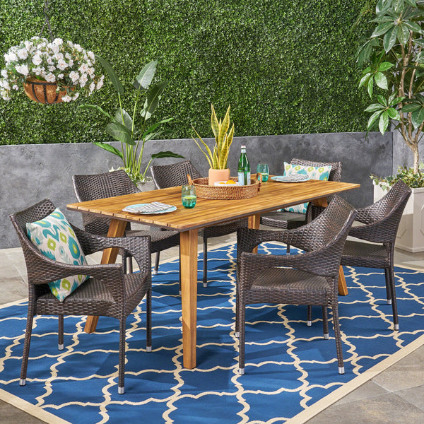 Outdoor 7 Piece Acacia Wood Dining Set with Stacking Wicker Chairs, Teak and Multi Brown - NH952603