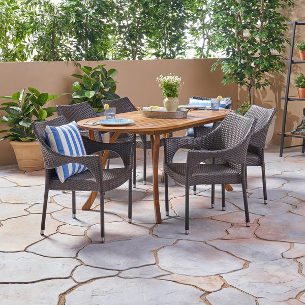 Outdoor 7 Piece Acacia Wood and Wicker Dining Set, Teak with Multi Brown Chairs - NH420503