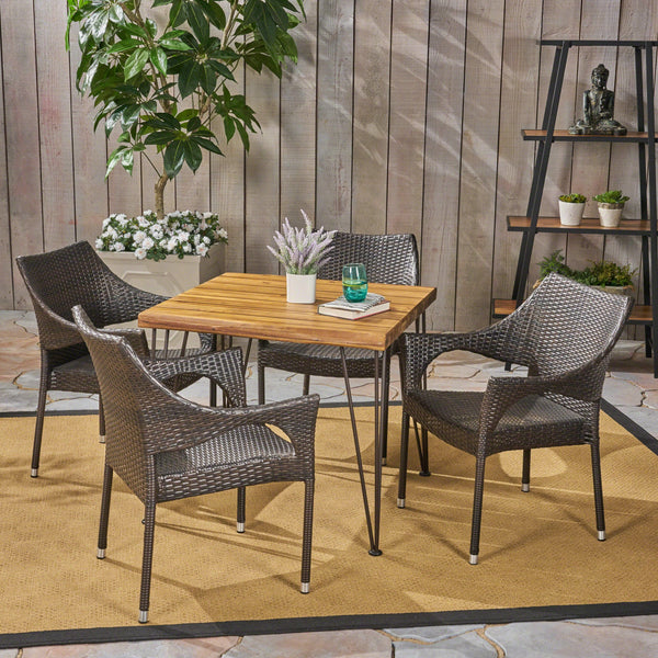 Outdoor Farmhouse Wood and Wicker 5 Piece Square Dining Set, Teak and Multi Brown - NH664503