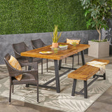 Outdoor 6 Piece Dining Set with Wicker Chairs and Bench, Sandblast Teak and Multi Brown and Cream - NH542603