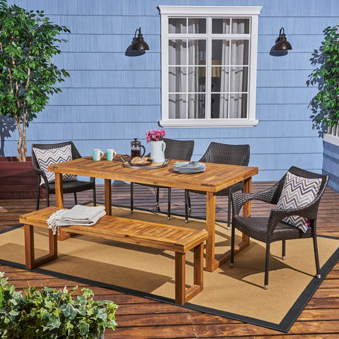 Outdoor 6-Seater Wood and Wicker Chair and Bench Dining Set - NH384503