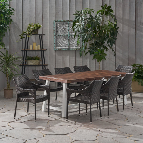 Outdoor Wood and Wicker 8 Seater Dining Set - NH546903