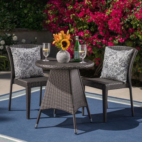Outdoor 3 Piece Wicker Bistro Set, Grey - NH215403