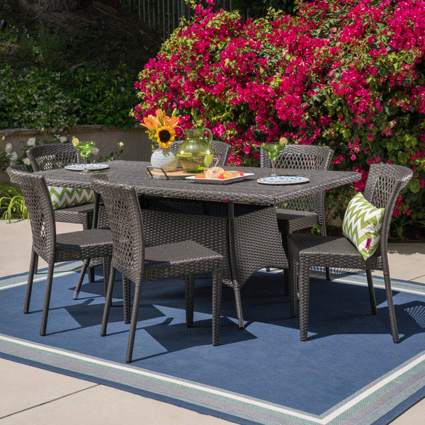 Outdoor 7 Piece Wicker Dining Set, Grey - NH315403